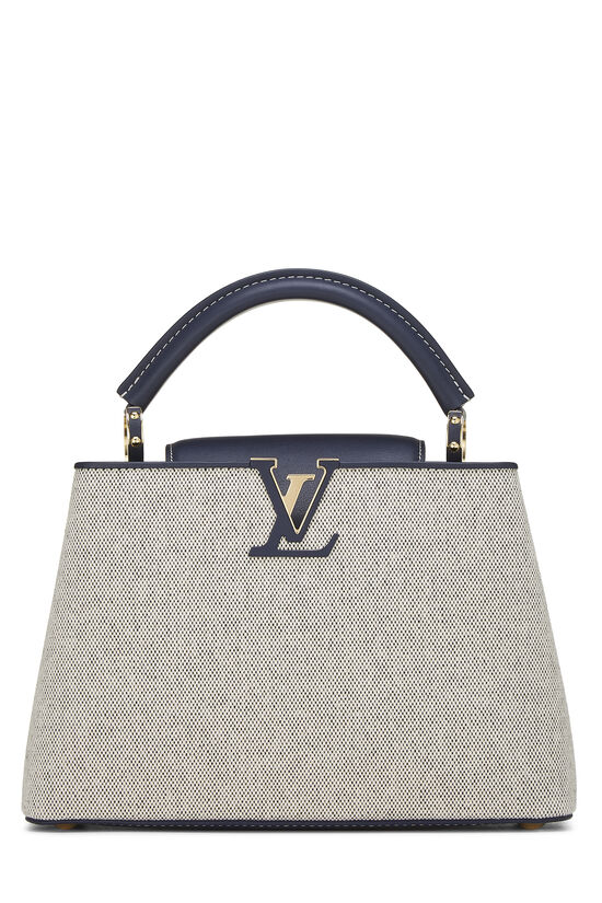 Natural Canvas & Navy Leather Capucines BB, , large image number 0