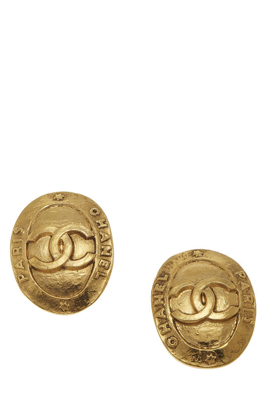 Gold 'CC' Paris Oval Earrings, , large image number 0