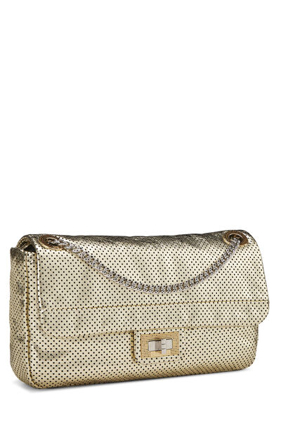 Metallic Gold Perforated Leather 2.55 Reissue Flap 227, , large