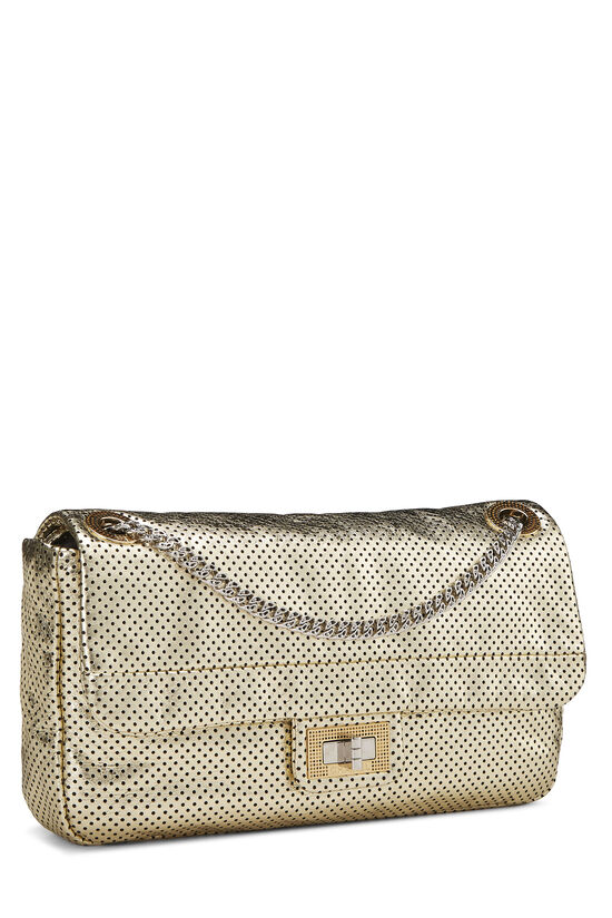 Metallic Gold Perforated Leather 2.55 Reissue Flap 227, , large image number 1