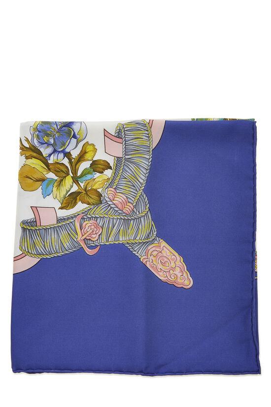 Blue & Multicolor 'Regina' Silk Scarf 90, , large image number 1