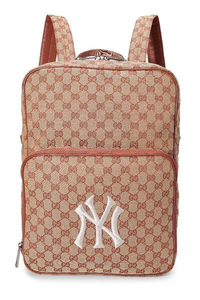 Orange GG Canvas New York Yankees Backpack
