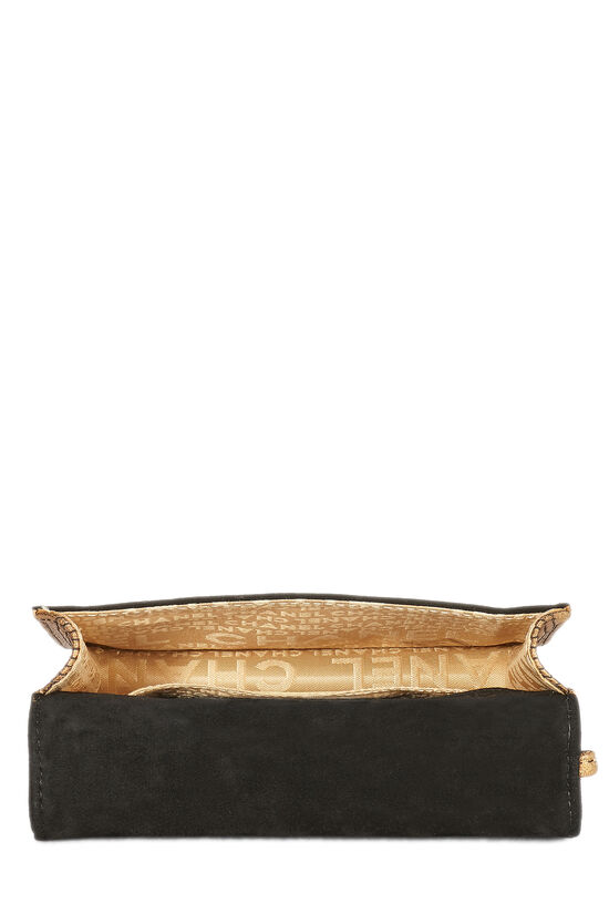Black Quilted Suede Bible Clutch , , large image number 5