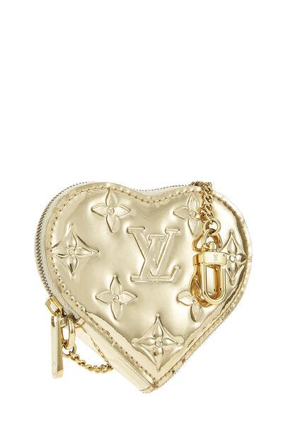 Gold Monogram Miroir Coeur Heart Coin Purse, , large