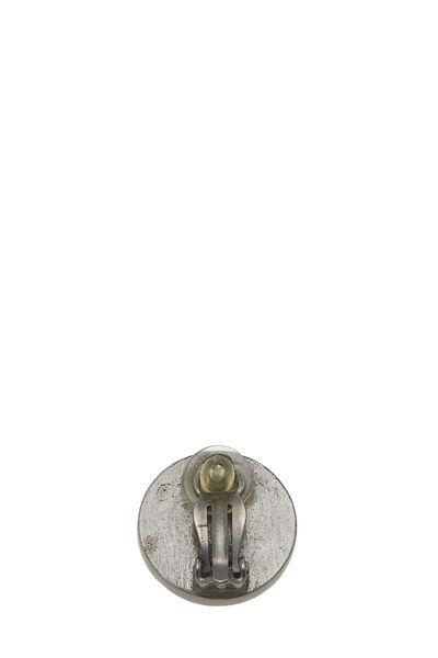 Gunmetal & Black Leather 'CC' Earrings, , large