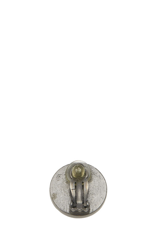 Gunmetal & Black Leather 'CC' Earrings, , large image number 1