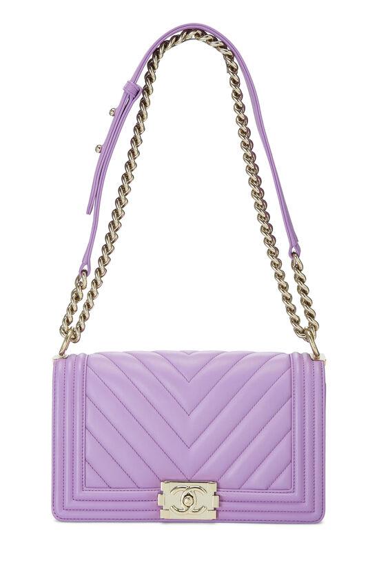 Purple Chevron Lambskin Boy Bag Medium, , large image number 1