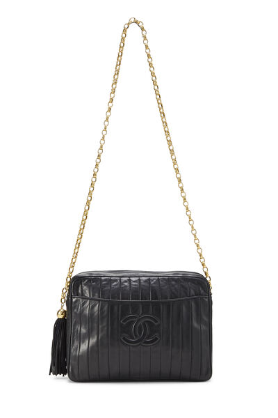 Black Vertical Lambskin Pocket Camera Bag Large, , large