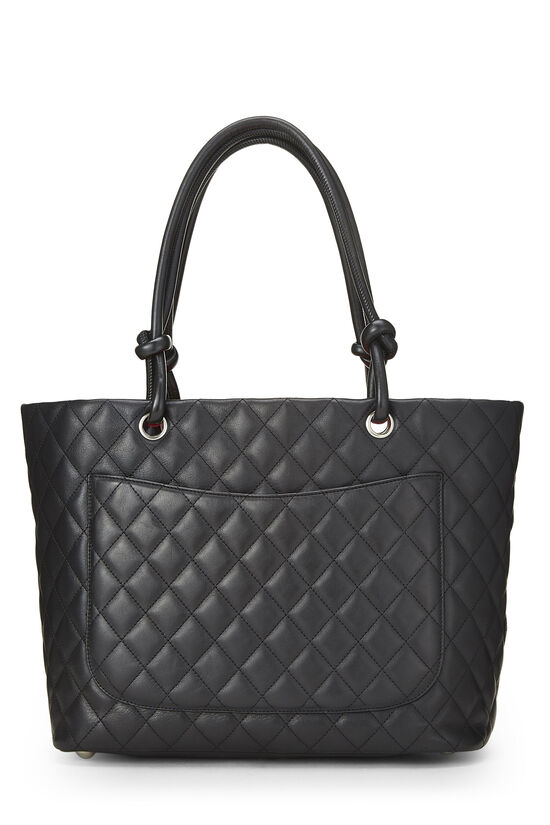 Black Quilted Calfskin Cambon Tote Large, , large image number 3