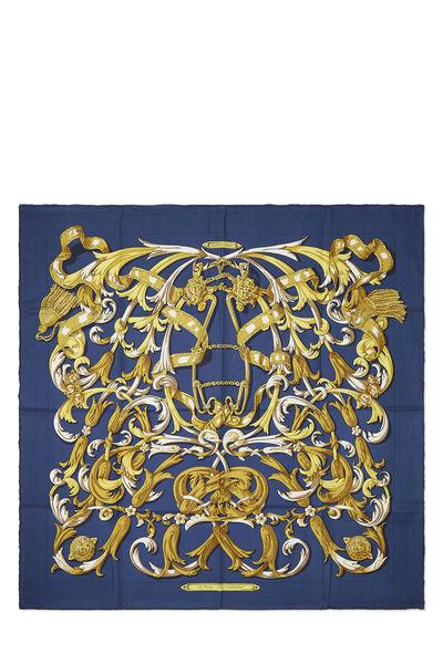 Navy & Multicolor 'Le Mors a la Conetable' Silk Scarf 90