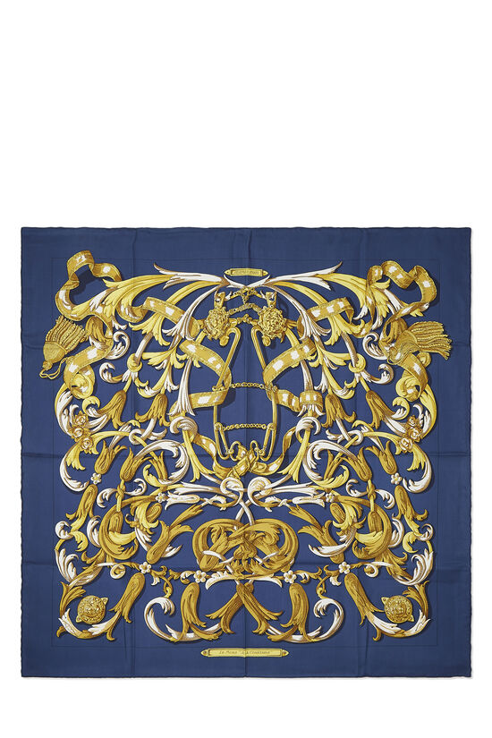 Navy & Multicolor 'Le Mors a la Conetable' Silk Scarf 90, , large image number 0