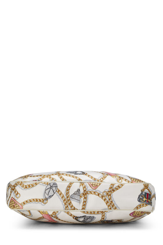 White & Multicolor Satin Charmy Hobo, , large image number 4