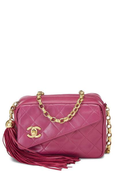 Pink Quilted Lambskin Pocket Camera Bag Mini