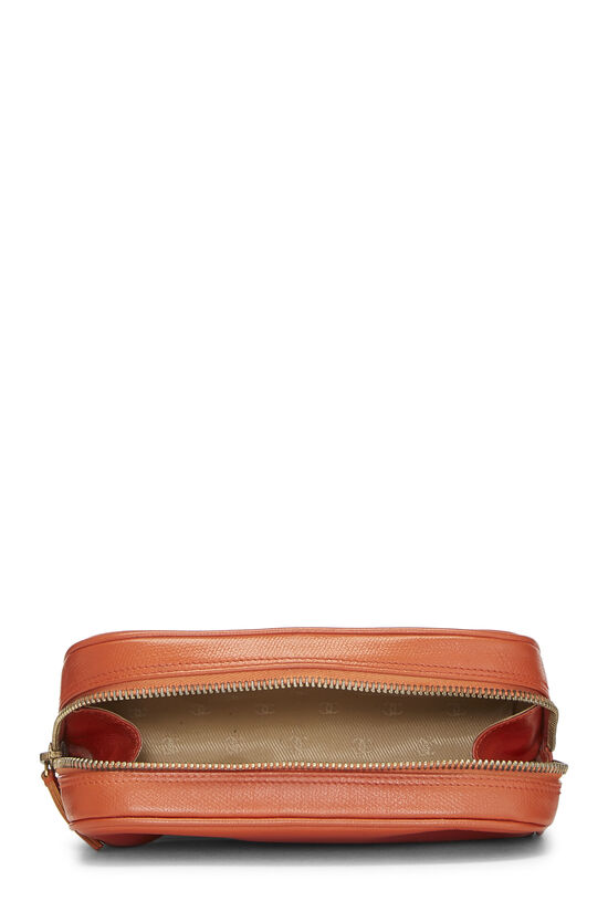 Orange Leather Cosmetic Pouch, , large image number 3