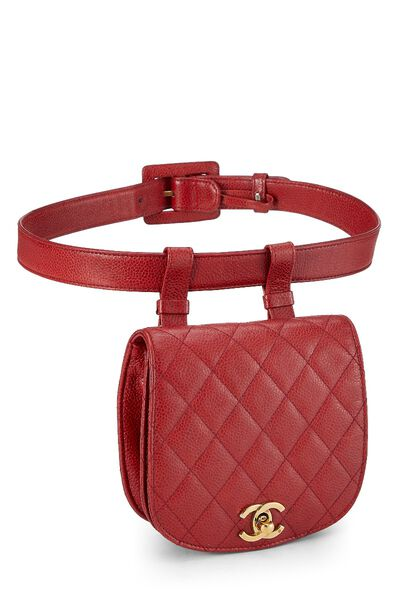 Red Quilted Caviar Belt Bag, , large