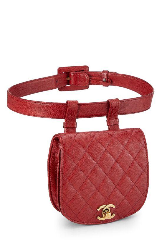 Red Quilted Caviar Belt Bag, , large image number 1