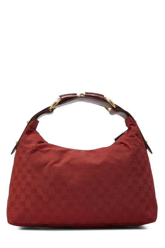 Red GG Canvas Horsebit Hobo, , large image number 3