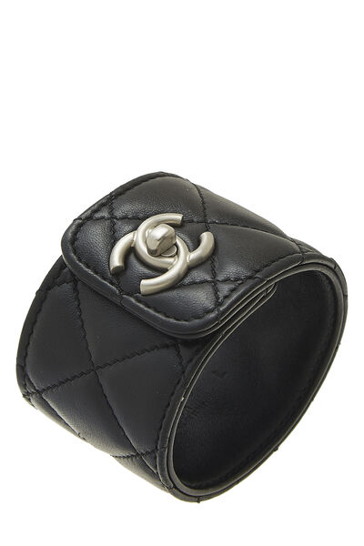 Black Quilted Leather Cuff