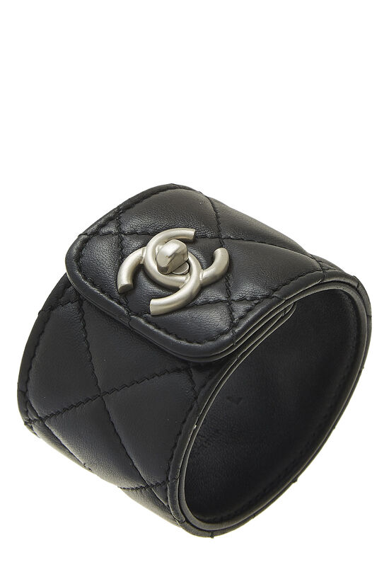 Black Quilted Leather Cuff, , large image number 0