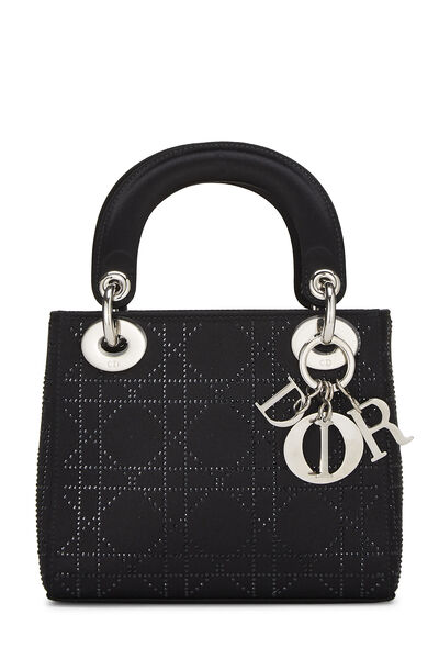 Black Crystal Cannage Satin Lady Dior Mini