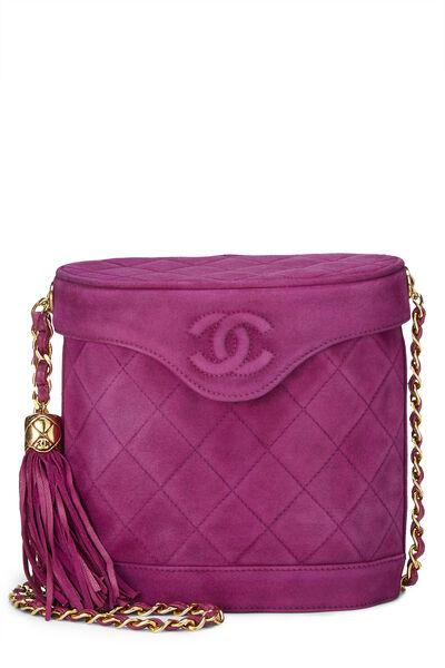 Purple Quilted Suede Binocular Bag Medium