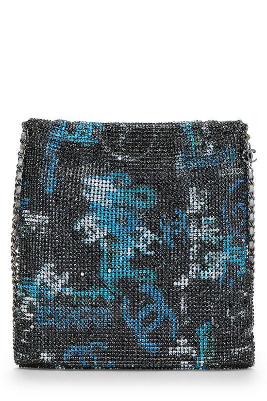 Grey & Blue Graffiti Rhinestone Chain Mail Bag, , large image number 3