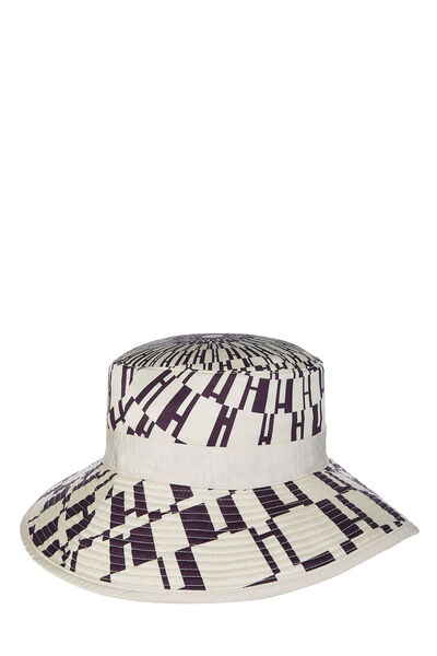 Cream & Purple Silk Logo Print Bucket Hat, , large