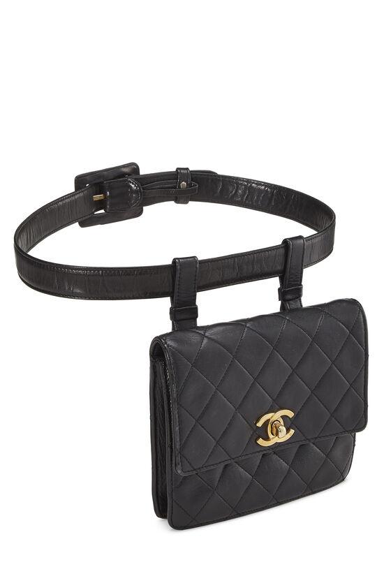 Black Quilted Lambskin Belt Bag 70, , large image number 1