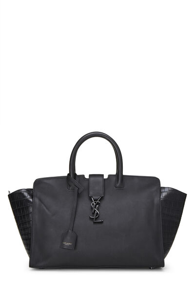 Black Leather Downtown Cabas Small