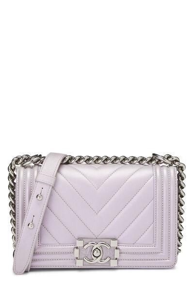 Iridescent Lavender Chevron Lambskin Boy Bag Small
