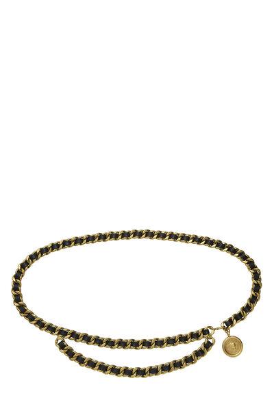 Gold & Black Leather Chain Belt 2