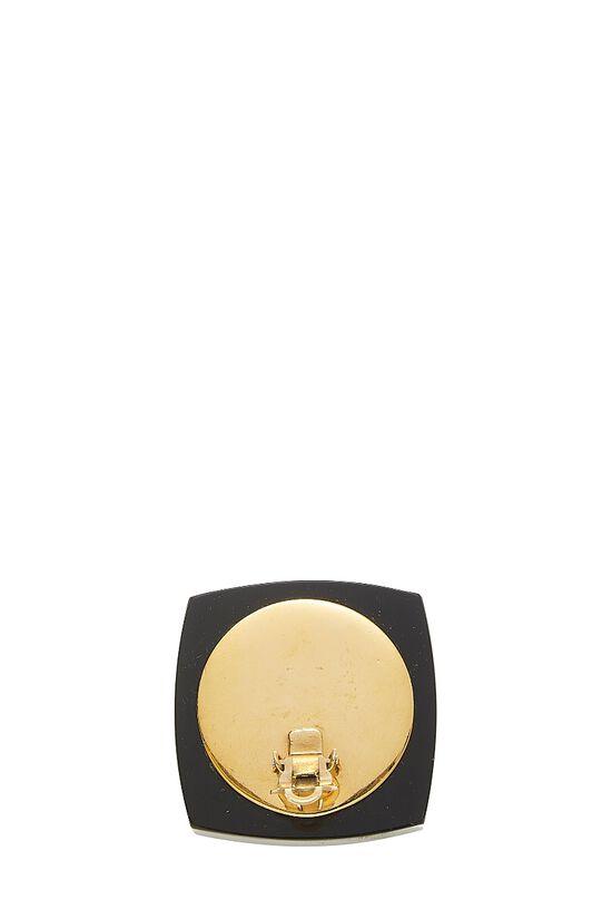 Gold & Black Enamel 'CC' Oversize Earrings, , large image number 2