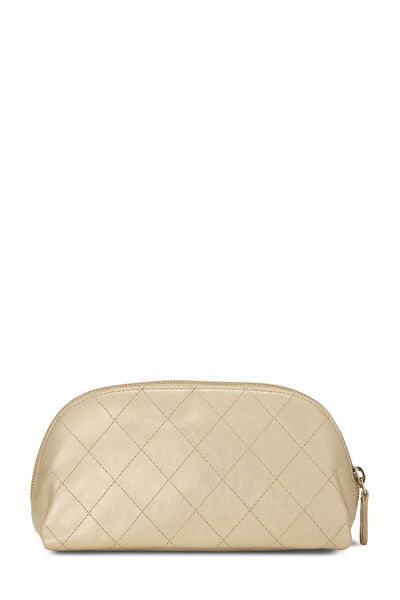 Gold Quilted Calfskin Cosmetic Pouch Small, , large