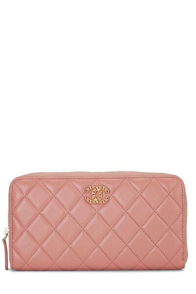 Pink Quilted Lambskin Zip Wallet