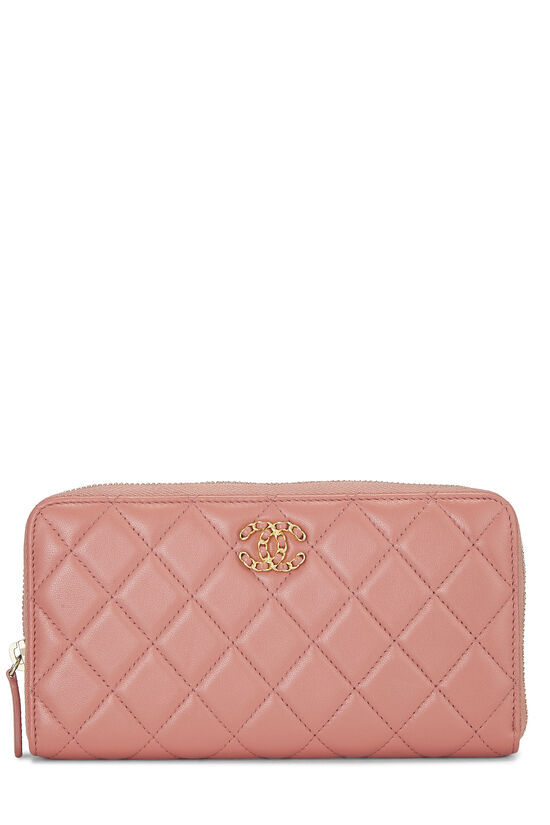 Pink Quilted Lambskin Zip Wallet, , large image number 0