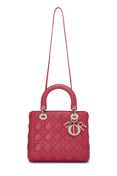 Pink Cannage Quilted Lambskin Lady Dior Medium, , large