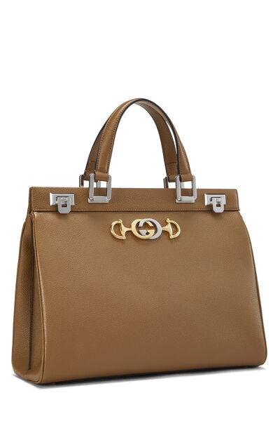 Beige Leather Zumi Top Handle Bag Medium, , large