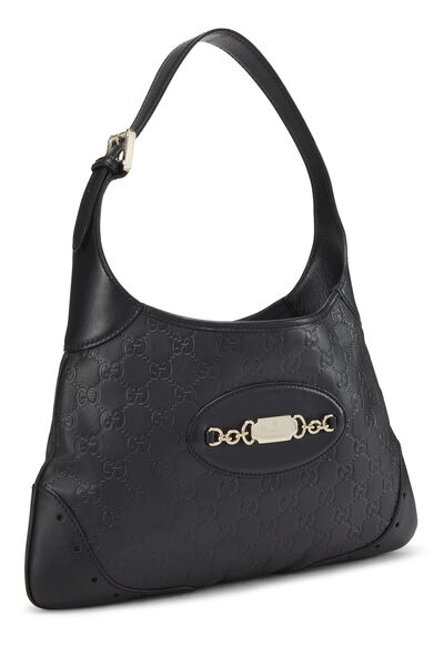 Black Gucci Signature Leather Punch Hobo, , large