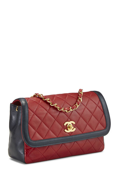 Red Quilted Lambskin Border Flap Small, , large