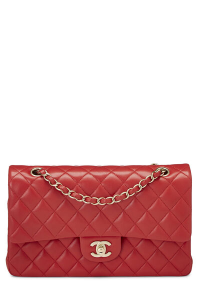 Red Quilted Lambskin Classic Double Flap Medium