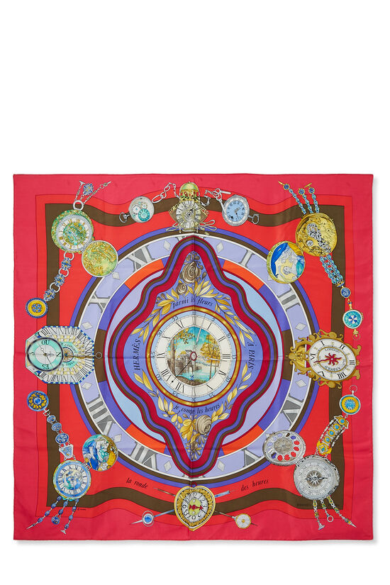 Pink & Multicolor 'La Ronde des Heures' Silk Scarf 90, , large image number 0