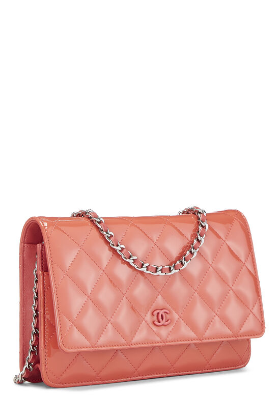 Coral Quilted Patent Leather Classic Wallet On Chain (WOC), , large image number 2