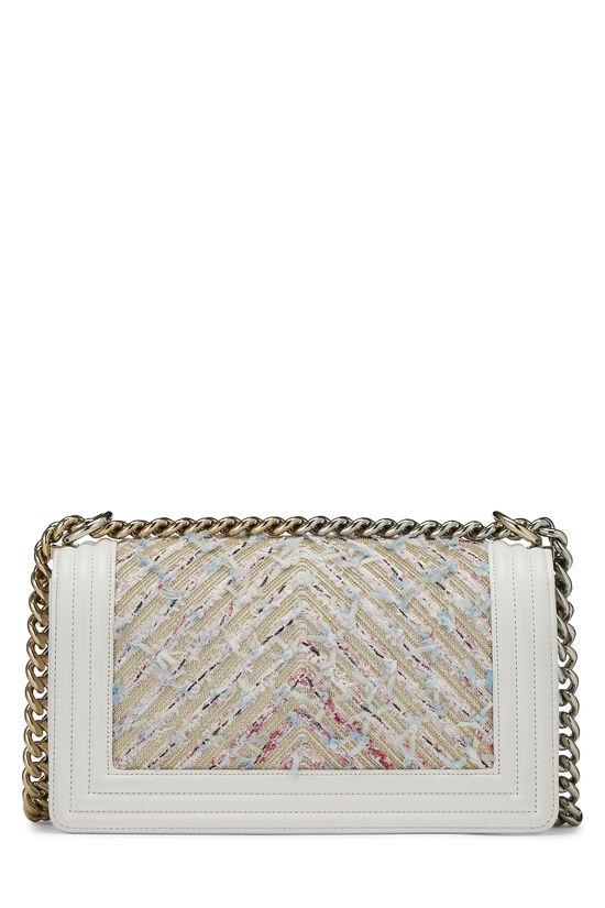 White & Multicolor Tweed Chevron Chain Boy Bag Medium, , large image number 4