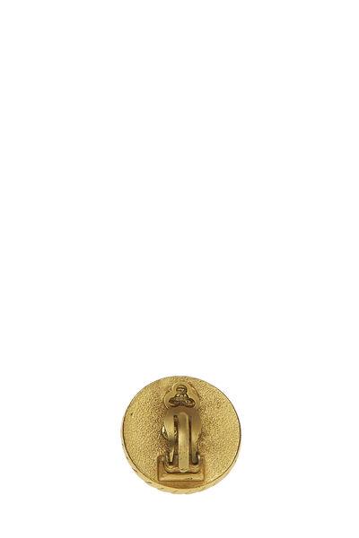 Black & Gold 'CC' Rope Edge Earrings, , large