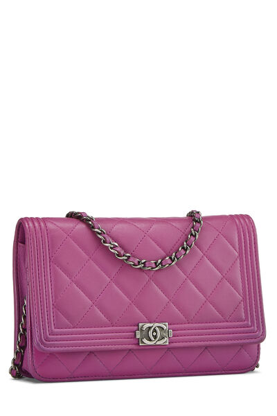 Purple Quilted Lambskin Boy Wallet on Chain (WOC), , large