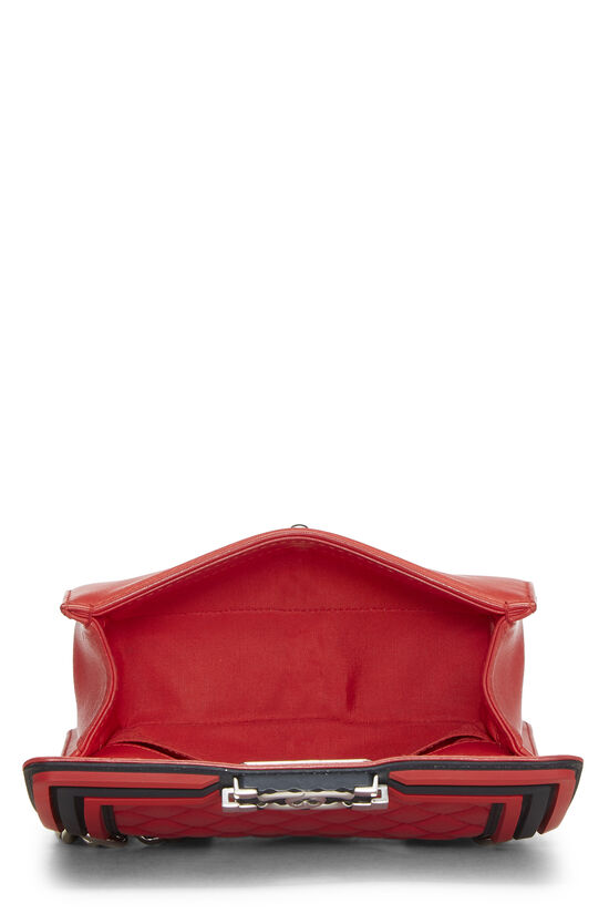 Red Quilted Lambskin Rubberized Boy Bag Small, , large image number 6