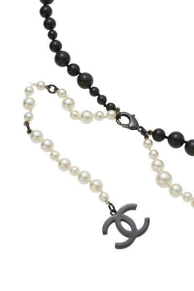 Black & White Faux Pearl Belt, , large