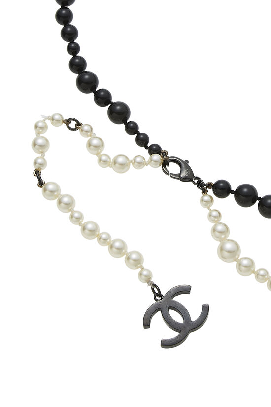 Black & White Faux Pearl Belt, , large image number 1
