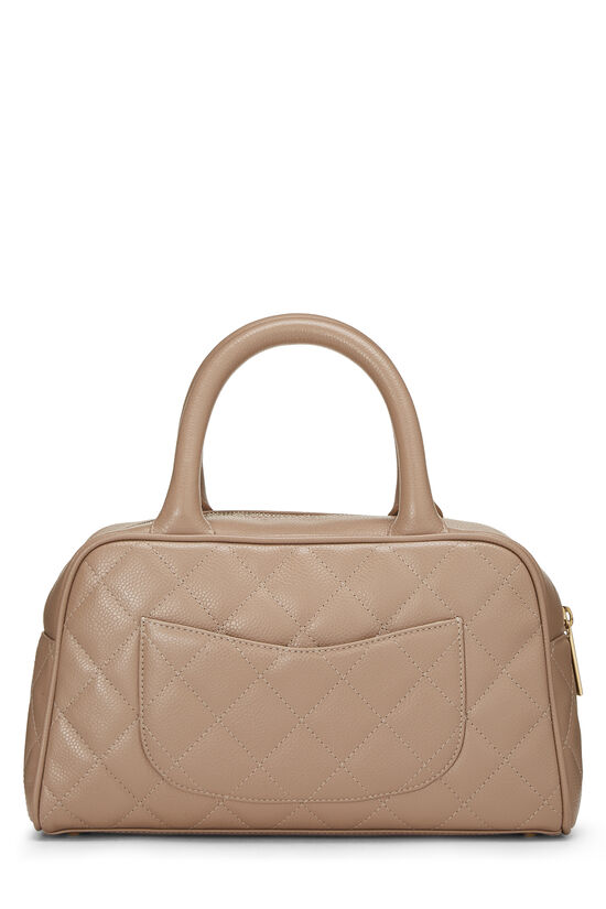 Beige Quilted Caviar Bowler Mini, , large image number 3