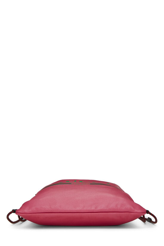 Pink Leather Drawstring Backpack Large, , large image number 4